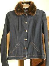BCBG Paris Denim Jacket with Removable Faux Fur Size XS