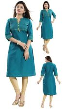 Women Indian 3/4 Sleeves Cotton Silk Green Kurti Tunic Kurta Shirt Dress MM206
