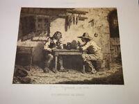 J.J VEYRASSAT (1828-1893) Gravure PAYSANS CIDRE BARBIZON BRETAGNE NORMANDIE 1850