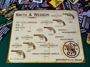 Smith and Wesson Revolvers Springfield Mass Tin Metal Sign W/ FREE PATCH handgun