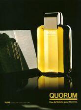 Publicité ancienne parfum eau de toilette Quorum Puig  non parfumé