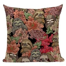 Sloth Cushion Cover, fun and floral, cotton canvas, modern, sloths, pink