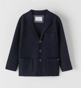 NWT ZARA Blue Textured KNIT BLAZER CARDIGAN SZ 10 Sweater Easter Spring