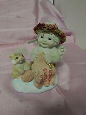 "Dreamsicles figurine ""Home Sweet Home"" 1998. #10381. Cherub with cat/knitting."