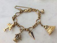 5 Vintage Monet Gold Fill Starter Charm Bracelet