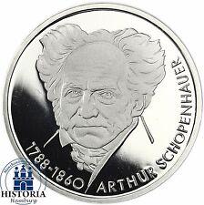BRD 10 dm plata 1988-Arthur Schopenhauer era espejo brillo moneda en münzkapsel
