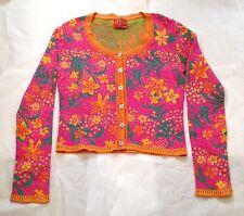 Vintage KENZO JUNGLE Fuchsia Sweater, Yellow Flowers, Leaves Size S/M Japan Mint