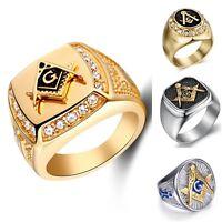 Mens Freemason 316L Silver Stainless Steel Masonic Lodge  Mason Ring Sizes 9-13