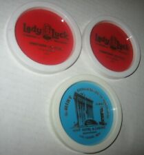 Vintage 3 LOT Las Vegas Plastic Souvenir Coasters The Mint Lady Luck Casino