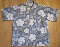 Vintage 90s BILLABONG hawaiian shirt XL aloha Hawaii surf flowers blue gray