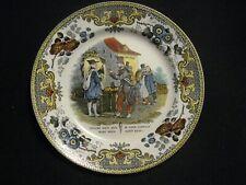 Très beau plat faïence ancienne de Creil représentant des militaires vers 1830