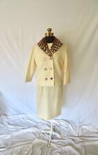 60s Cream Wool Dress Suit Leopard Collar Jacket Tailored Jackie O Mid Century