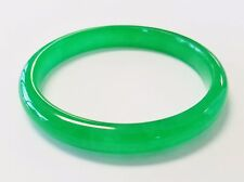 """Apple Jade"" Jadeite Bangle Bracelet 9.58mm Wide 72.8mm Outside Diameter Grade A"