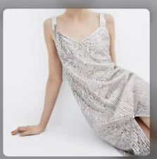 Zara Woman's Silver sequined strappy dress size S