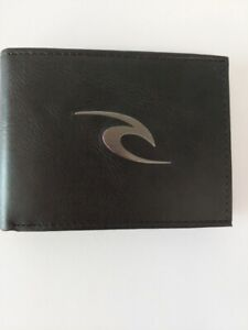 RIP CURL WALLET NEW Mens PHAZE ICON All Day Black 100% Leather Logo RFID CARDS