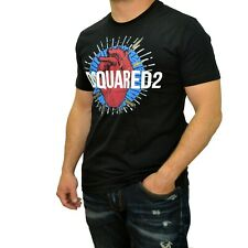 Men's Dsquared2 T Shirt Black Short Sleeve Relief Print Crew Neck