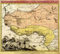MAP ANTIQUE HOMANN 1743 WEST AFRICAN COAST OLD LARGE REPRO POSTER PRINT PAM0932