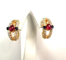 New Diamond .50 ct Sapphire .20ct Ruby .50ct 18kt YG Earrings ~ GAL APPRAISAL