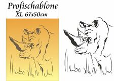 Schablone, Wandschablone, Tupfschablone, Malerschablone - Nashorn XL 67x50cm