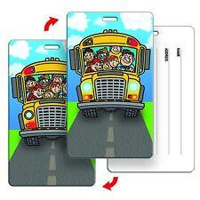 Luggage Bag Travel Tag Cartoon Kid School Bus Flip Lenticular #LT01-270#