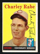 Charley Rabe #376 signed autograph auto 1958 Topps Baseball Trading Card