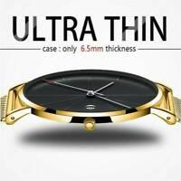 Men Trendy Ultra Thin Minimalist Watch Slim Strap Stainless Steel Quartz Gift UK