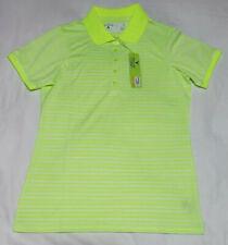 NEW Antigua Women's Attain Desert Dry Golf Polo Neon Yellow Green Striped Size S