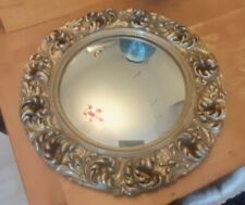 Antique  gold ornate mirror with domed glass