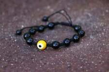 Yellow Evil Eye Bracelet 18cm Agate Glass Macrame Cotton New Jewellery Free Post