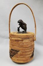 Antique Hand Made Indonesian Basket with Mythical Garuda Wood Figure