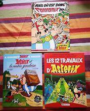 Lot 3 BD Astérix 1-jeu Panoramix -2:12 travaux -3:Asterix et rentrée Gauloise