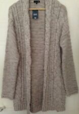 Next Tall Chunky Cable Knit Long Cardigan Oatmeal Beige Acrylic Alpaca S 8 10