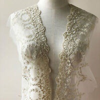 Bridal Dress Lace Trim Embroidered Tulle Ribbon Silver Wedding DIY Floral Edging