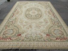 Old Hand Made Traditional French Design Wool Green Original Aubusson 373X266cm
