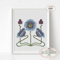 Art Nouveau Blue Flax Flower Borders Cross stitch Embroidery PDF Pattern #196