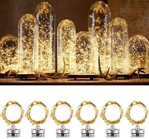 6PCS Indoor Fairy Lights 7ft 20 LEDs Warm White Battery Operated String Lights