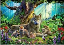 Ravensburger 1000 piece jigsaw puzzle WOLVES IN THE FOREST flowers cubs