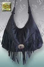 "Leather 23"" Strap Handle Hobo Bag Western Style Purse with Fringe Handbag"