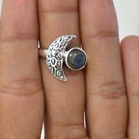 Handmade 925 Solid Sterling Silver Jewelry Labradorite Gemstone Ring Size 6