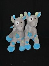 Lot 2 peluche doudou girafe ARTHUR & LOLA Bébisol bleu gris vert fleur 24 cm