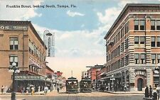 c.1910 Stores Trolley Franklin St. looking South Tampa FL post card