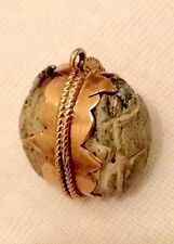 18ct Gold HandCarved Double Faience Scarab Beetle Egyptian Revival Charm Pendant
