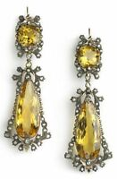 Antique Look 925 Sterling Silver 3.50Ct Rose Cut Diamond YellowTopaz  Earring