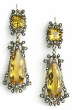 Rose Cut Diamond YellowTopaz Earring Antique Look 925 Sterling Silver 3.50Ct