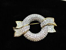Swarovski Wreath & Ribbon Brooch Pin Swan Pave Crystal Gold & Silver Tone signed