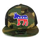 Democratic Donkey Patch Camo Snapback Mesh Flatbill Baseball Cap - FREESHIP