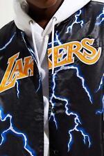 UNIQUE Mitchell & Ness LOS ANGELES Lakers Lightning Satin BLACK Jacket LARGE NEW