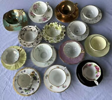 Vintage Lot Of 14 Mismatched China Tea Cups and Saucers.