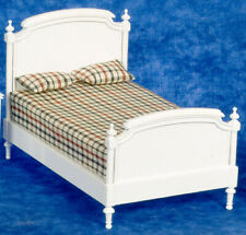 DOLLHOUSE MINIATURES WHITE DOUBLE BED #T5482
