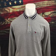 VTG TOMMY HILFIGER POLO SHIRT SIZE XL  RUGBY LONG SLEEVE GRAY